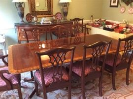Baker Furniture - Historic Charleston Reproduction Mahogany Inlaid - Double Pedestal - with 2 more leaves