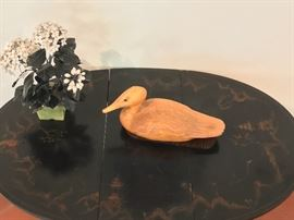 Antique Chinese Gate Leg Table, Hooded Merganser Duck Decoy in Butternut, Signed, vintage Chinese Jade tree
