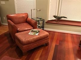 Ethan Allen Leather Chair & Ottoman