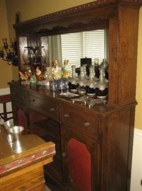Unique oak carved bar & mirrored back bar with stainless counter