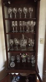 Ethan Allen Cabinet full of nice crystal