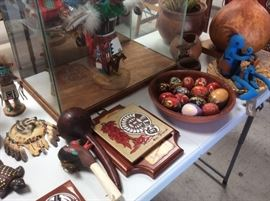 Kachina is larger case, painted eggs