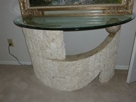 Unique faux stone glass top half-round table