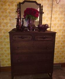 Early Century Chest Of Drawers w Swing Mirror, (has original key)