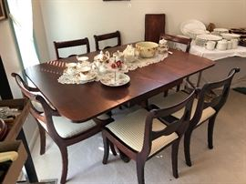 High end Antique dining table with 6 chairs