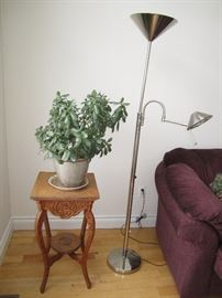 Oak plant stand, beautiful Jade plant, floor lamps