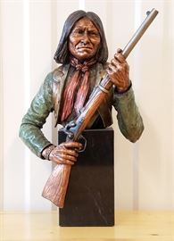 """1992 """"Rebellious-Geronimo"""" by Chris Pardell, 6th in the Legacies of the West premier edition issued by Legends, 14"""" tall"""
