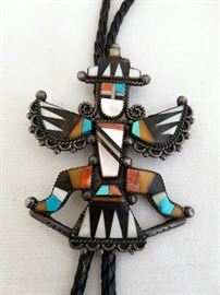 "Zuni or Navajo Bolo. Unsigned, but appears to be silver. Kachina figure measures 3 1/2"" x 2 5/8"""