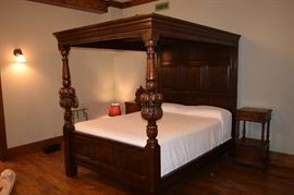"Antique Charles II Style Poster Canopy Bed 79"" Tall X 64"" Wide X 87"" Deep. The Mattress measures 5' X 81""."