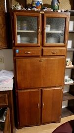 Antique Kitchen Cabinet/Hutch - Enamel Drop Down Table Top
