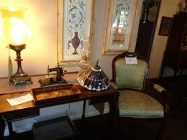 ANTIQUE DESK, CHAIR STAINED GLASS LAMP SHADE AND A MINATURE SEWING MACHINE