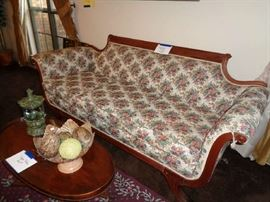 ANTIQUE SOFA, COFFEE TABLE