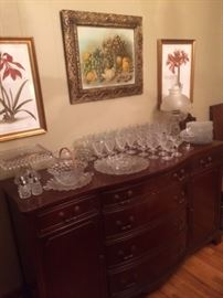 Large collection of American Fostoria upon a great buffet!