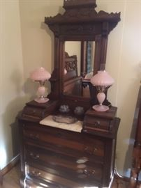 Magnificent example of ornat cabinet making displayed in this washstand with marble insert!