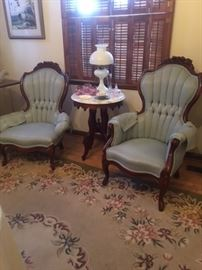 Beautiful and in perfect condition these his and hers Victorian chairs tell the story of years gone by!!!
