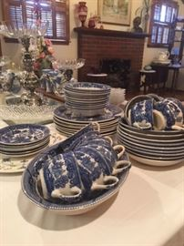Yes you are correct! This is many pieces of blue willow China!