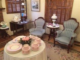 A beautiful 6 place setting of soft pink China