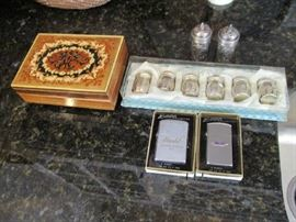 JEWELRY BOX, STERLING, LIGHTERS