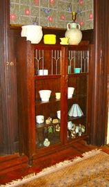 Mission Oak Bookcase w/ Leaded Doors