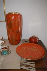 Orange Floral Dish and Vase Set