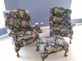 Floral Print Queen Anne Windsor Chairs w/ matching ottoman