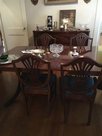 Duncan Phyfe dining table, six chairs