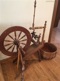 ANTIQUE SPINNING WHEEL DATED 1848