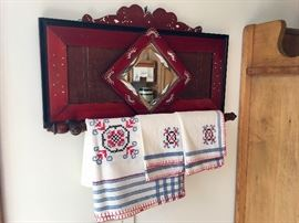 ANTIQUE MIRROR WITH TOWEL BAR