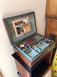 ANTIQUE SEWING BOX WITH GREAT DETAIL & SUPPLIES.