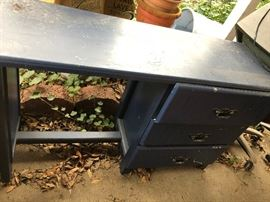 Cute navy blue desk/dresser.