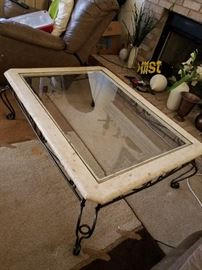 stone, plass and wrought iron coffee table with two matching end tables