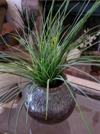 pottery vase with greenery