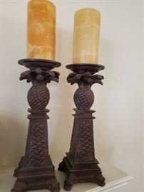 pineapple candle pillar candle holder set with candles