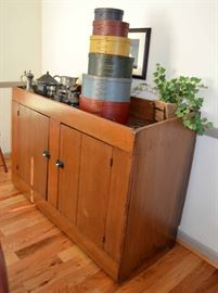 vintage dry sink; Shaker style pantry boxes
