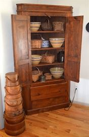 firkins / sugar buckets; blind door corner cupboard