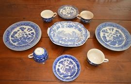 Blue Willow transferware Japan, center is English scene