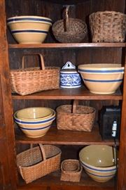 yelloware bowls; vintage baskets