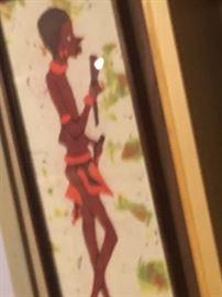 African tie dye piece framed