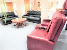 Matching Leather Sofas and  Matching Massaging Chairs