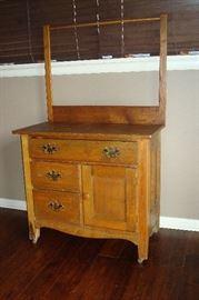 Antique oak wash stand.