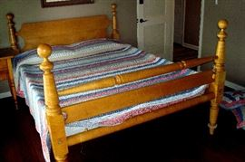 Custom made vintage tiger maple queen bed and American design quilt & shams.