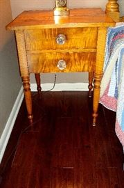 1840,s tiger maple two drawer stand w/original glass period pulls.