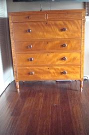 1830's Sheraton period maple & tiger maple chest of drawers.