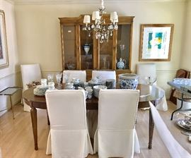 American Martinsville table and breakfront and chairs with Ballard Designs removable covers