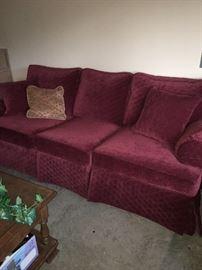 6 ft burgundy sofa