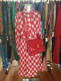 Red 80s dress with tie and red vintage leather purse