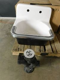 Cast Iron Utility Sink With Drain and S/S Trim