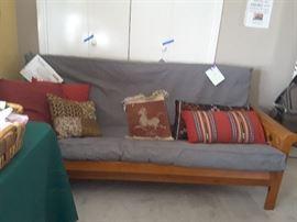 Futon with wooden frame   &  pillows