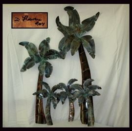 Great Set of Signed Copper Palm Trees