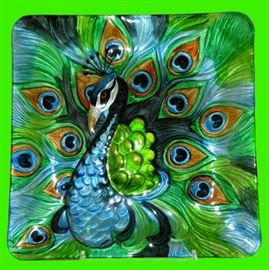 Gorgeous Vibrant Peacock Platter